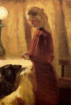 Anna Ancher (Danish painter, Food for the Dogs Skagen, Portraits, Portrait Art, Nordic Art, Scandi Art, Most Popular Artists, Anna, Traditional Paintings, Dog Paintings
