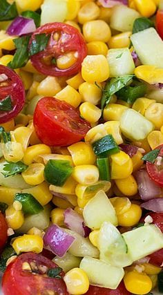 Corn, Tomato and Cucumber Salad – Recipes – - Summer Recipes Corn Salad Recipes, Cucumber Recipes, Corn And Cucumber Salad Recipe, Corn Salad Recipe Easy, Corn Salads, Veggie Pasta Salads, Fresh Corn Recipes, Summer Vegetable Recipes, Cherry Tomato Recipes
