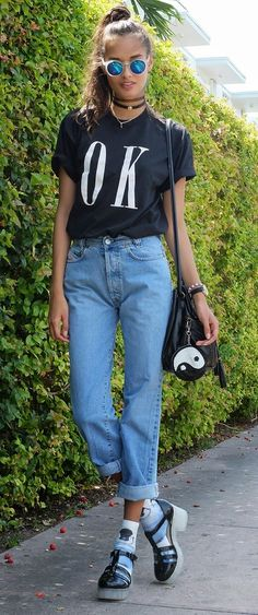T-shirt from Brashy Couture, bag from Urban Outfitters, shoes and accessories from Asos, pants are vintage.