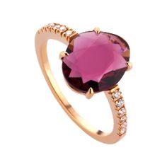 Ring Double Rose: edler Ring höchster Qualität mit Rhodolith-Granat und 12 Brillanten in Farbe G, 18-karätiges Rotgold, online bei RenéSim kaufen.