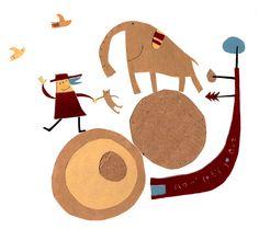 Natsuko Kawatsu / カワツナツコ Natsuko, Rhinos, Children's Book Illustration, Elephants, Childrens Books, Animation, Texture, Image, Collage