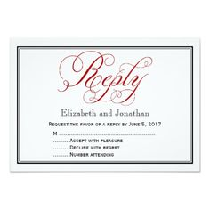 Red Black and White Script Wedding Reply Card