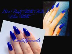 20xBlue Stiletto Nails,Hand Painted nails,False Nails,Press on nails+glue