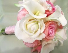 Pink white and Ivory wedding bouquet in real by MyFavorsandFlowers, $125.00