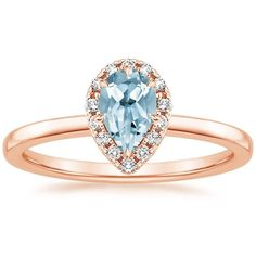 Aquamarine Vienna Engagement Ring (1/4 ct. tw.) - 14K Rose Gold