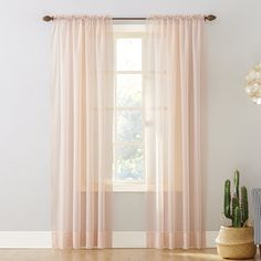 """No. 918 Emily Sheer Voile Rod Pocket Curtain Panel, 59"""" x 95"""", Whisper Pink"""