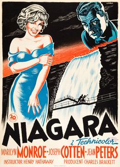 NIAGRA (1952) - Marilyn Monroe - Joseph Cotten - Jean Peters - Directed by Henry Hathaway - Swedish Movie Poster