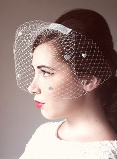 Adore this bird cage veil with silver hearts from Maria Louise Bridal!  http://www.etsy.com/shop/marialouisebridal