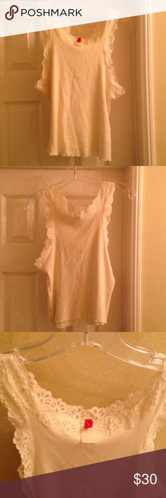 Josie Natori women's tank undershirt. Size M. Josie Natori women's tank undershirt with lace at neck and armholes. Can be worn as a PJ top, camisole, undershirt or tank. A soft and comfortable top. Size M. Josie Natori Tops Tank Tops