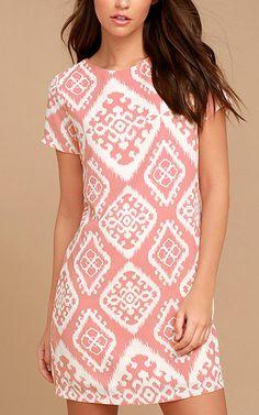 Give Me A print Blush Pink Print Shift Dress via @bestfashionhq