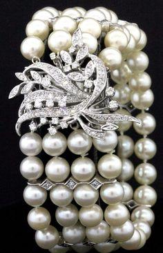 Heavy 14K white gold beautiful 2.68CT diamond/7.3mm pearl 4-strand bracelet #MultiStrand