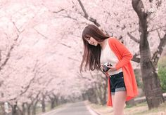 K fashion #cherry #blossom #orange #cardigan #jeans #shorts #top
