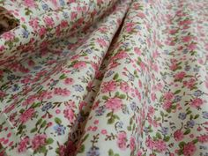 Pink Lilac Green floral flowers Poly cotton by TheFabricShopUK, £3.99