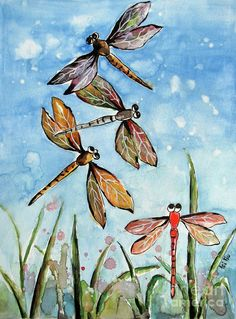 dragonfly paintings | Dragonfly Watercolor Painting Dragonflies Painting by Fei Liu ...