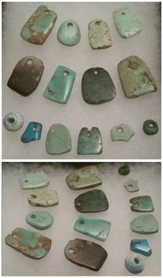 Ancient Anasazi turquoise pendants, and one early Spanish glass trade bead. Ancient Jewelry, Old Jewelry, Gems Jewelry, Tribal Jewelry, Turquoise Jewelry, Jewelry Making, Jewelry Necklaces, Shell Jewelry, Jewellery