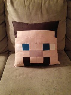Minecraft Steve Herobrine Hero Brine Quilted Pillow by ValaCreations
