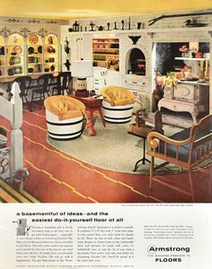 Basement Rec Room decor Vintage 1958 Armstrong Excelon Tile Floor ad from Retro Reveries. Retro Renovation, Camper Renovation, Vintage Interiors, Vintage Home Decor, Blue Interiors, 1930s Home Decor, 1960s Interior, Interior Design, Interior Colors