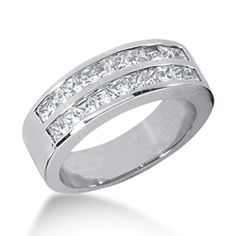 14K Gold Princess Diamond Double Row Channel Set Wedding Band $2,031
