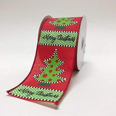 10-Yard Cozy Mittens Christmas Tree and Snowflakes Wired Ribbon 2-1//2-Inch