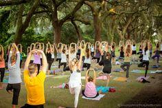 Yoga under the oaks! Charleston, SC Charlestowne Landing Teacher for this day: Brittney Hiller   www.theoutdooryogini.com Photographer: www.johnarthurphoto.com