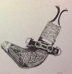 """"""" UAE old Dagger"""" Pen&Ink Illustration by Irfan Khan"""