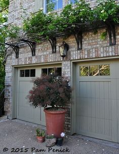 West Texas meets the Big Easy in the courtyard garden of Curt Arnette Digging Trellis over garage doors Garage Trellis, Metal Trellis, Plant Trellis, Pergola Metal, Pergola With Roof, Corner Pergola, Wooden Pergola, Backyard Pergola, Pergola Shade