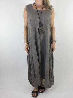 Italian Lagenlook Linen Long Tunic in Mocha. code 3498 - Lagenlook Clothing UK