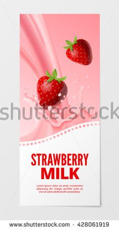 Sweet fruit milk vertical realistic banner 3d vector illustration. Business flyer with strawberry splash milk isolated on white background.