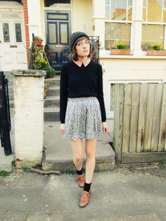 Fashion Your Seatbelts. black jumper, peach collar, print skirt and tan oxfords.
