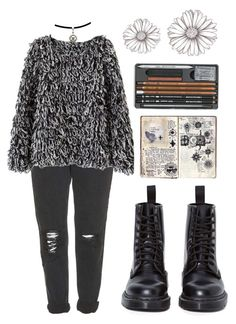 """Untitled #206"" by geospirit3 ❤ liked on Polyvore featuring Topshop and Dr. Martens"