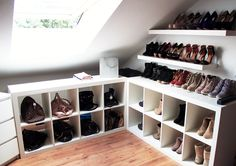 Breathtaking Attic room inspiration,Attic renovation contractors and Attic bedroom no windows. Closet Walk-in, Bedroom Closet Storage, Attic Storage, Closet Space, Walk In Closet, Shoe Storage, Storage Ideas, Closets, Shoe Cubby