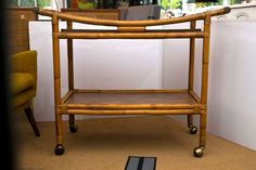 Mid-Century Rattan Bar Cart at 1stdibs