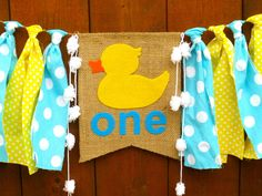 RUBBER DUCK Birthday Banner Highchair High Chair Nautical Blue Yellow Aqua Rubber Ducky First One Party Bubbles Garland Cake Smash Prop by SeacliffeCottage on Etsy https://www.etsy.com/listing/259676535/rubber-duck-birthday-banner-highchair