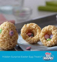Your kids can use plastic Easter eggs to mold Rice Krispies Treats™. Then fill them with M&M's. BONUS – only four ingredients!