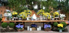 Decoração em azul e amarelo de Camila K. Flores e Festas - Blog Dani Vargas | Realize-se - O site do seu casamento