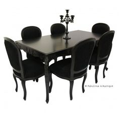 French Carved Dining Table 6 Chairs Black Ornate Modern Baroque