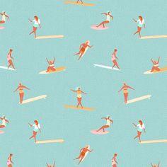 Girls surfers light blue fabric by tasiania on Spoonflower - custom fabric Beach Illustration, Digital Illustration, Surfer Girl Style, Surfer Girls, Soul Surfer, Surf Art, Burton Snowboards, Skateboard Art, Knitting Designs
