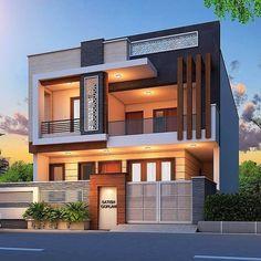 Modern Small House Design, Modern Exterior House Designs, Modern House Facades, Dream House Exterior, Exterior Design, Modern Design, 3 Storey House Design, Bungalow House Design, Modern Bungalow