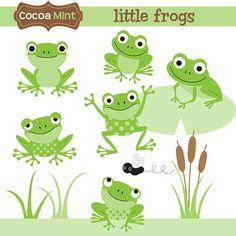 Little Frogs Clip Art por cocoamint en Etsy