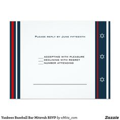 Yankees Baseball Bar Mitzvah RSVP 4.25x5.5 Paper Invitation Card