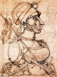 A Arte de Cozinhar (recto), carvão vegetal por Carlo Urbino (1525-1585, Italy)