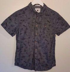 Cactus Man Small Slim Fit Gray Short Sleeve Button  Beach Design Shirt Cotton…