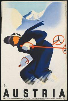 """c.1930s """"Ski Austria Austrian Alps"""" Travel Poster- -Antique-Old-Vintage Reproduction Photograph/Photo: Gicclee Print. Frame it!"""