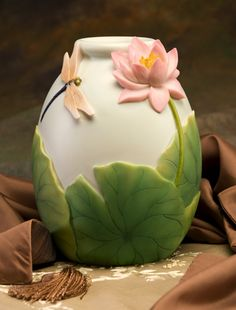 Dragonfly and Waterlily Vase