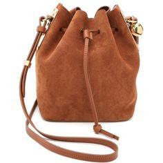 Sophie Hulme Small Drawstring Bucket Bag (5.785 ARS) ❤ liked on Polyvore featuring bags, handbags, shoulder bags, tan, genuine leather shoulder bag, brown purse, brown handbags, genuine leather handbags and bucket bag