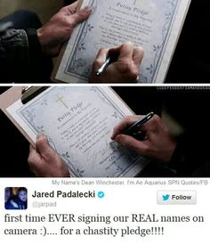 First time we see their Winchester signatures! I actually thought about this - if anyone ever asks them to sign as their Winchester counterparts when they meet them.