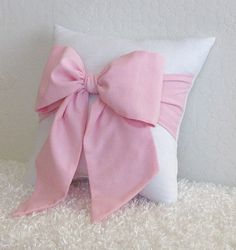 Pink and White Bow Accent - Throw Pillow