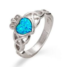 Sterling Silver Opal Claddagh Ring - Enamel Rings - Rings