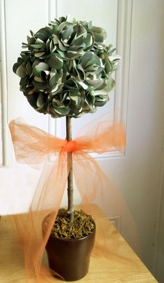 Camouflage Topiary Centerpiece  with Hot Pink or Hunter Orange Tulle Bow  Can be Personalized  and Customized for your Special Occasion on Etsy, $51.21 CAD