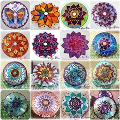 Mandalas using old CDs and glass painting paint/technique